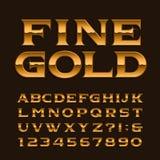 Fuente del alfabeto del oro Letras, números y símbolos brillantes de lujo Imagenes de archivo