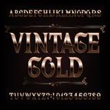 Fuente del alfabeto del oro del vintage Letras de oro adornadas de lujo encendido y números libre illustration