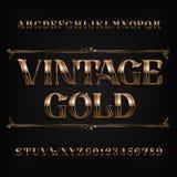 Fuente del alfabeto del oro del vintage Letras y números adornados del efecto del metal ilustración del vector