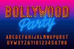 Fuente del alfabeto del partido de Bollywood Letras y números retros con la bombilla libre illustration