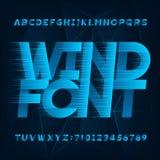 Fuente del alfabeto del viento Tipo letras y n?meros del efecto de la velocidad r?pida libre illustration