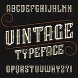 Fuente del alfabeto del vintage Decorativo adornado en estilo retro stock de ilustración