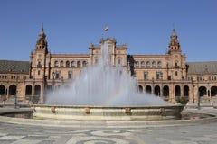 Fuente del cuadrado de España en Sevilla fotos de archivo libres de regalías