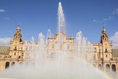 Fuente del cuadrado de España (Sevilla, España) Foto de archivo