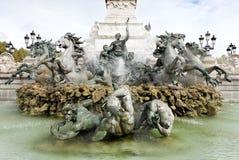Fuente del DES Girondins del monumento, Burdeos Imagen de archivo libre de regalías