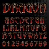 Fuente del estilo del dragón del vector Imagen de archivo libre de regalías
