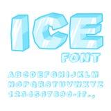 Fuente del hielo Letras frías Alfabeto azul transparente Alphab escarchado Imagen de archivo