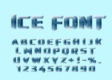 Fuente del hielo Letras del hielo y numérico Fotos de archivo