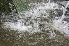Fuente del jet que cae en agua del cuenco en el día soleado brillante, creando el agua del movimiento en cuenco, ondas, espray, e Foto de archivo