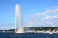 Fuente del lago Lemán Foto de archivo