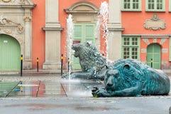 Fuente del león de Gdansk fotografía de archivo libre de regalías