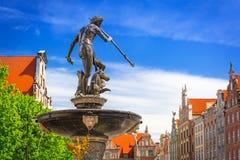 Fuente del Neptuno en la ciudad vieja de Gdansk Imagen de archivo