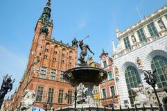 Fuente del Neptuno en la ciudad vieja de Gdansk Foto de archivo libre de regalías