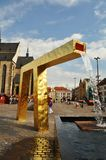 Fuente del oro en Pilsen Foto de archivo libre de regalías