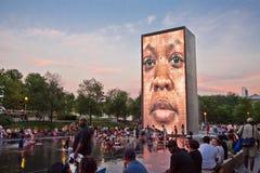 Fuente del parque del milenio en Chicago Fotos de archivo
