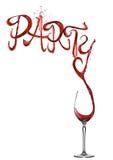 Fuente del partido del chapoteo del vino rojo que vierte al vidrio imagen de archivo