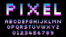 Fuente del pixel 8 letras y n?meros del pedazo ilustración del vector