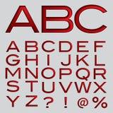 Fuente del rojo del alfabeto del efecto de Debossing del vector ilustración del vector