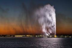 Fuente del ` s de rey Fahd, también conocida como la fuente de Jedda en Jedda, la Arabia Saudita foto de archivo libre de regalías