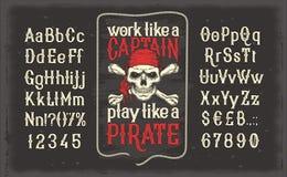 Fuente del vintage de letras y de números con un marco y un cráneo del pirata ilustración del vector