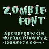 Fuente del zombi Huesos y cerebros Alfabeto muerto vivo Terri verde Foto de archivo