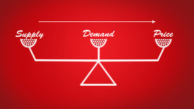 Fuente, demanda y ejemplo estable de la escala del precio en fondo rojo ilustración del vector