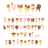 Fuente derretida del helado Las letras y los números coloridos del polo se pueden utilizar para el diseño del verano En blanco Foto de archivo libre de regalías