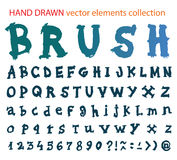 Fuente dibujada mano - alfabeto del movimiento del cepillo Imagen de archivo