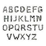Fuente dibujada mano del garabato en blanco Ejemplo de los garabatos bosquejados de los símbolos de un alfabeto ilustración del vector