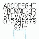 Fuente dibujada mano del vector Alfabeto del estilo del bosquejo Foto de archivo