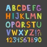 Fuente divertida de los tebeos del vector Dé el lowcase exhausto y la historieta colorida mayúscula las letras del alfabeto inglé Imagen de archivo libre de regalías