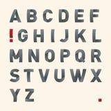 Fuente doblada vector - alfabeto Imágenes de archivo libres de regalías