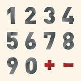Fuente doblada vector - números Fotografía de archivo libre de regalías