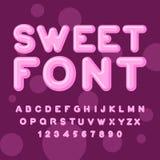 Fuente dulce Letras rosadas Piruletas lettring ABC del caramelo Ca Foto de archivo