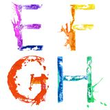 Fuente E, F, G, H del chapoteo de la pintura del vector Imágenes de archivo libres de regalías