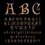 Fuente elegante, alfabeto, ABC y números del oro Imagenes de archivo