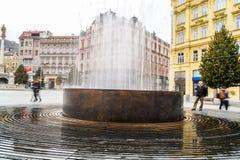 Fuente en Brno - plaza principal Foto de archivo libre de regalías