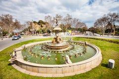 Fuente en el centro de Barcelona en España Fotografía de archivo libre de regalías