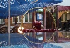 Fuente en el forma de un muchacho que juega que refleja en una tabla de cristal Imagen de archivo