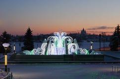 Fuente en el invierno, con la iluminación del Año Nuevo de la noche Foto de archivo
