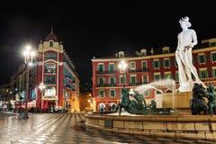 Fuente en el Masena cuadrado en Niza Imagen de archivo libre de regalías