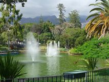 Fuente en el parque de la ciudad Fotos de archivo libres de regalías