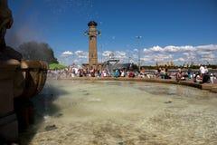 Fuente en el puerto de Szczecin Fotografía de archivo libre de regalías