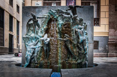 Fuente en Malaga. Fuente y escultura en Malaga, Spain Stock Images