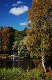 Fuente en medio del lago Fotos de archivo libres de regalías