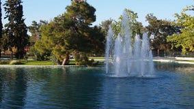 Fuente en un lago del parque almacen de metraje de vídeo