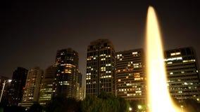 Fuente en un parque en el lapso de la noche almacen de video