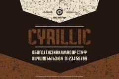 Fuente estrecha de sans serif del cirílico común del vector libre illustration