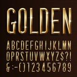 Fuente estrecha del alfabeto del oro 3d biseló letras, números y símbolos del efecto del oro stock de ilustración