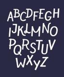 Fuente estricta blanca para los fondos oscuros, intrépido latino compuesto tipo con las sombras dentro de letras ilustración del vector